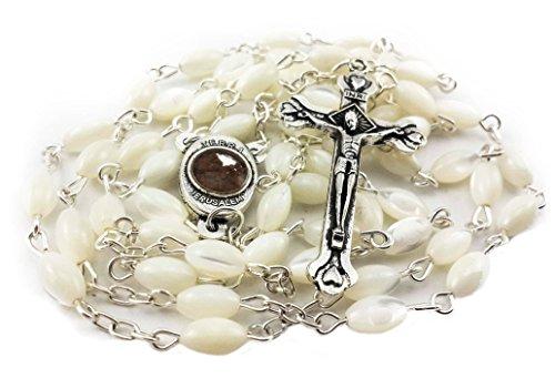 Rosario católico de madreperla nacarada, medalla y cruz de Tierra Santa, Nazareth Store.
