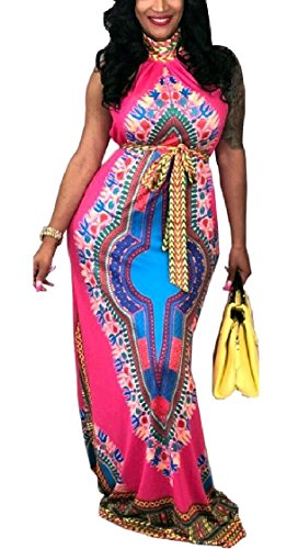 DressUWomen Vestido de long playa floral africano dashiki sin mangas cuello para Mujers Rosa roja XS