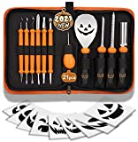 Pumpkin Carving Kit, 21Pcs Halloween Jack-O-Lanterns Professional Carving Tools Pumpkin Carving Set Heavy Duty Stainless Steel Lengthening and Thickening Carving Knife