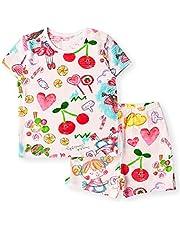 Unifriend Tシャツ 半ズボン 女児 キッズ パジャマ ショート 綿100% オーガニック ルームウェア パンツ ねまき 上下セット