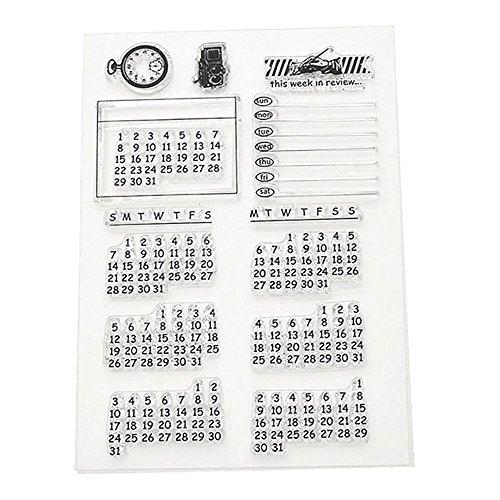 ?HuntGold Kalender Woche Monat Transparent Klar Stempel Cling Blatt DIY Dichtung Handwerk Scrapbook