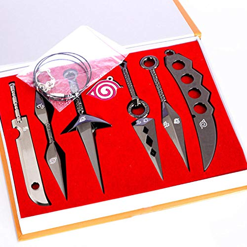 Naruto Messer Wurfpfeil Anime Naruto Itachi Kunai Set, Naruto Kunai Plastik Spielzeug Cosplay Zubehör Für Naruto Fans - Set Mit 7-Schwarz