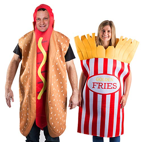 Tigerdoe Hotdog and French Fries Couple Costume - Halloween Funny Costume - Food Costume - Novelty Costumes - 2 Pc Set