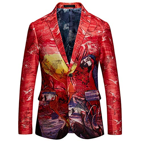 남성 컬러 프린트 슬림 슈트 2버튼 싱글 브레이스드 블레이저 재킷