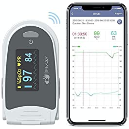 EMAY Sleep Oxygen Monitor with App for iPhone & Android | Track Overnight & Continuous Blood Oxygen Saturation Level…