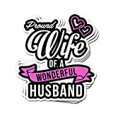 3 PCs Stickers Proud Wife of A Wonderfull Husband 4 × 3 Inch Die-Cut Wall Decals for Laptop Window