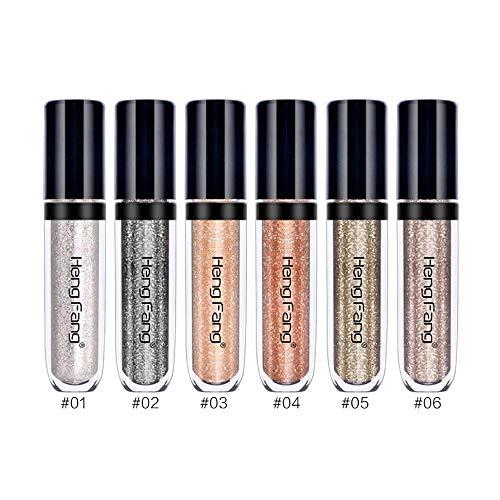 POFET 6 pcs/Ensemble Shinning Fard À Paupières Liquide Maquillage Glitter Glow Ombre À Paupières Shimmer - B, comme décrit