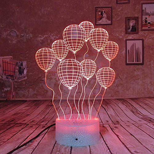 shiyueNB verjaardagscadeau 3D-nachtlampje ballon 7 kleuren LED wow-effect maken geweldig idee inclusief stekker en USB-kabel tafellamp