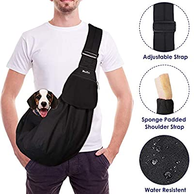 Slowton Pet Carrier, Hand Free Sling Adjustable Padded Strap Tote Bag Breathable Cotton Shoulder Bag Front Pocket Safety Belt Carrying Small Dog Cat Puppy Up to 16 lbs Machine Washable (Grey)