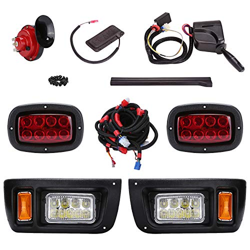 10L0L Golf Cart LED Headlight and Tail Light Kit for Club Car DS Carts with Turn Signals Switch Horn Brake Lights Harness(Must Input 12 Volts)