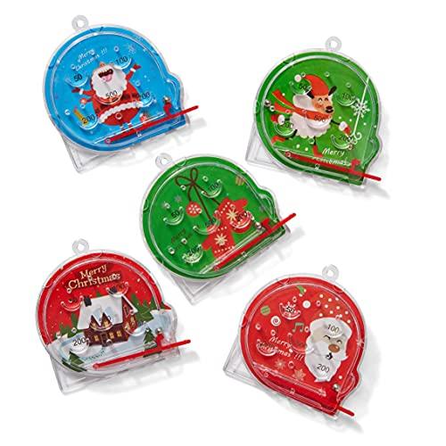 THE TWIDDLERS 50 Mini Giochi di Pinball Natalizi per Bambini| Colori Vivaci e 5 Motivi Festivi| Calendario Avvento e Riempitivi di Calza Natalizia, Pensiero Natale, Pignatta, Bomboniere Regalini.