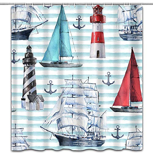 hipaopao Sailingboat Lighthouse Anchor Ocean Theme Fabric Shower Curtain Sets Bathroom Decor with Hooks Waterproof Washable 72 x 72 inches Light Blue Red