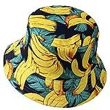 VECRY Uomo Estate Reversibile Pescatore Cappelli - Donne Frutta Stampa Pieghevole Esterno Cappellino (Banana-Giallo)