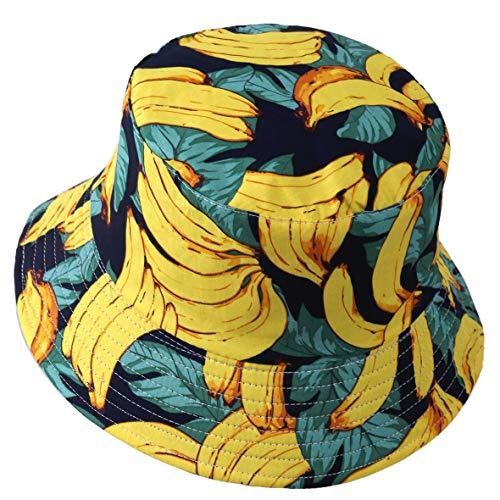 Herren Sommer Reversibel Fischerhüte - Damen Früchte Druck Sonnenhut Fishmen Faltbar Eimerhut (Banane-Gelb)