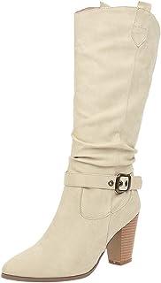 Stivali da Donna in Pelle con Cinturino Incrociato al Ginocchio con Fibbia Scarpa con Tacco Basso