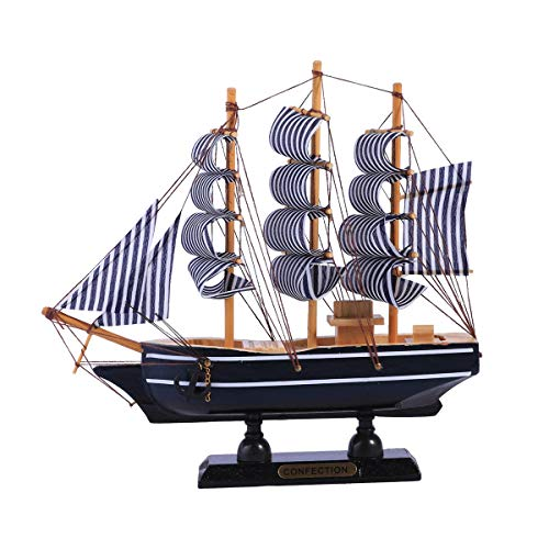 VOSAREA Maqueta de Barcos de Madera Adorno de velero mediterráneo artesanía de Madera Escritorio decoración