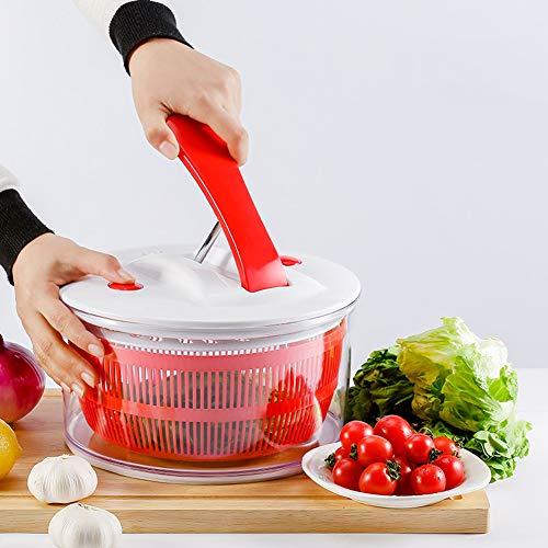 Grande Essoreuse à Salades En Acier Inoxydable - Séchoir à Laitue, Action à Séchage Rapide, Base Antidérapante, Bol Allant Au Lave-vaisselle Avec Passoire Et Levier à Poignée