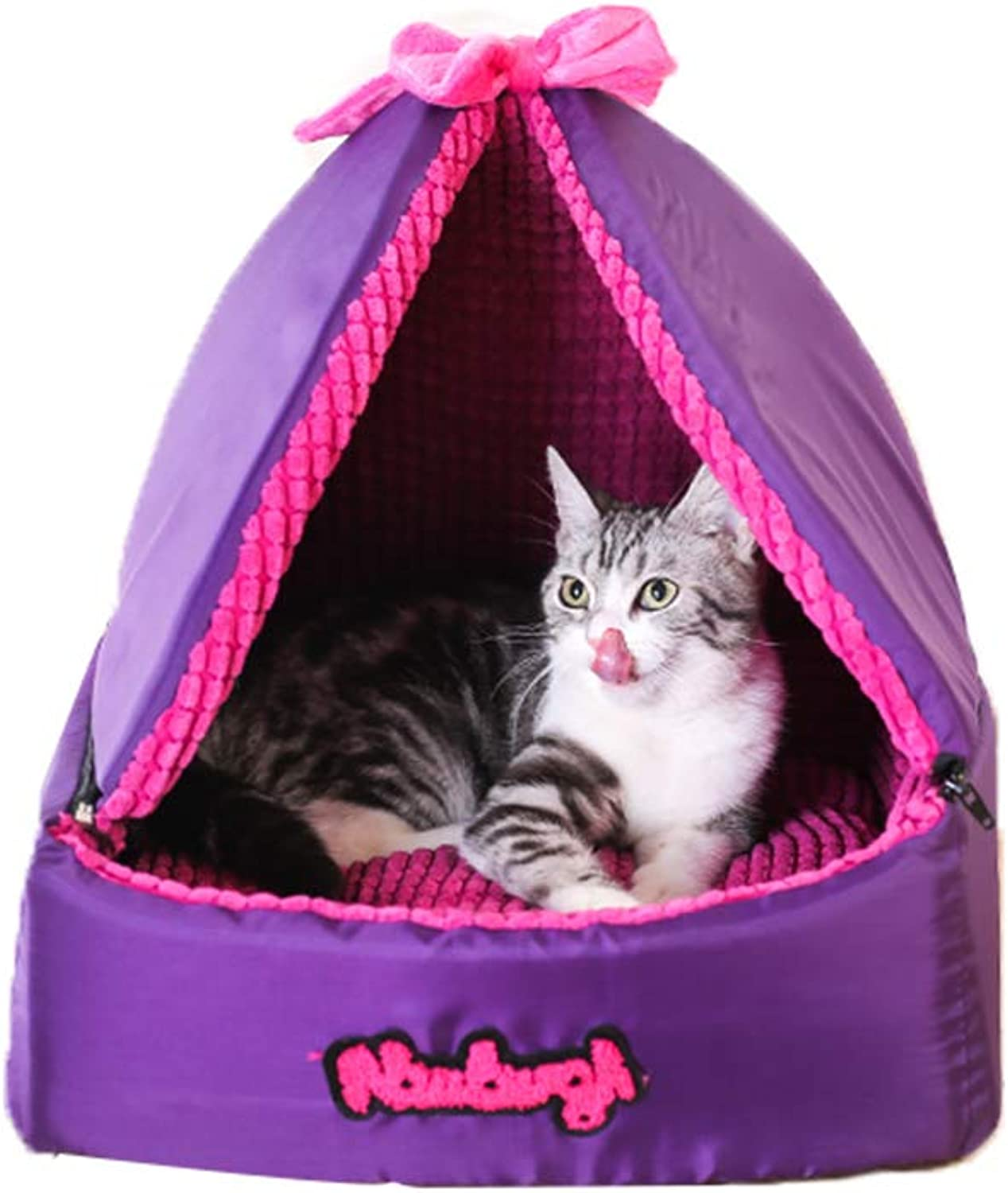 ZYear Purple Kennel Modern Cat House with Detachable Tent Roof Fully Removable & Washable for Small Cats Medium Dogs