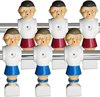 Brybelly Old-Style Foosball Men with Hardware (Set of 6) Red and Blue