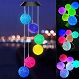 ASLUX Solar Wind Chimes,Wind Chimes with Crystall Ball,LED Wind Chimes Chaning Color,Wind Chimes Outdoor,Hanging Solar Light