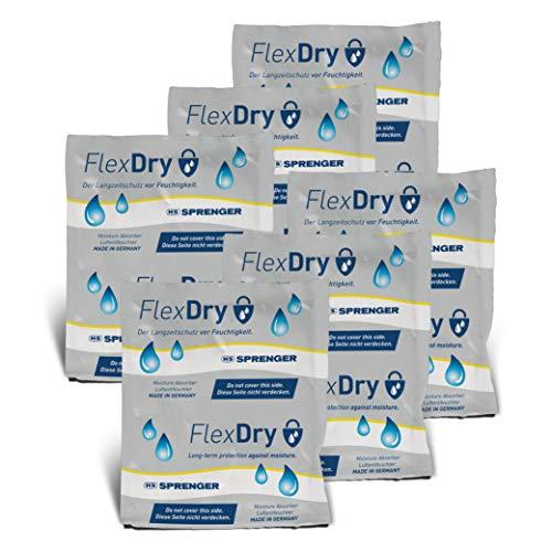 FlexDry Six-Pack 1,6 Liter - Luftentfeuchter, kein Auslaufen - Langzeitschutz vor Feuchtigkeit - für Auto oder KFZ, Boot, Yacht, Caravan, Haushalt (6er Pack)