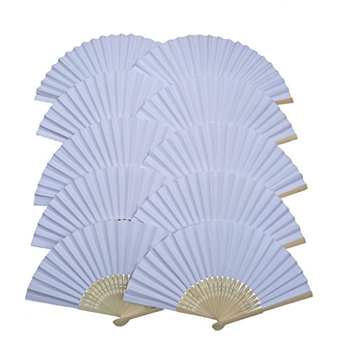 IGBBLOVE Paper Folding Hand Fan Wedding Party Favor- White ,10 pack