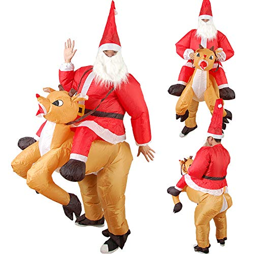 Wowo House Christmas Funny Cartoon Doll Costume Reindeer Costume Prop Costume Riding Deer Santa Claus Inflatable Clothes Adult.