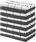 Utopia Towels - 12 Toallas de Cocina (38 x 64 cm) (Gris y Blanco)