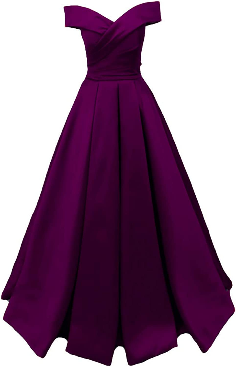 Kivary Long Off The Shoulder Satin V Neck Formal Corset Prom Dress Evening Gown