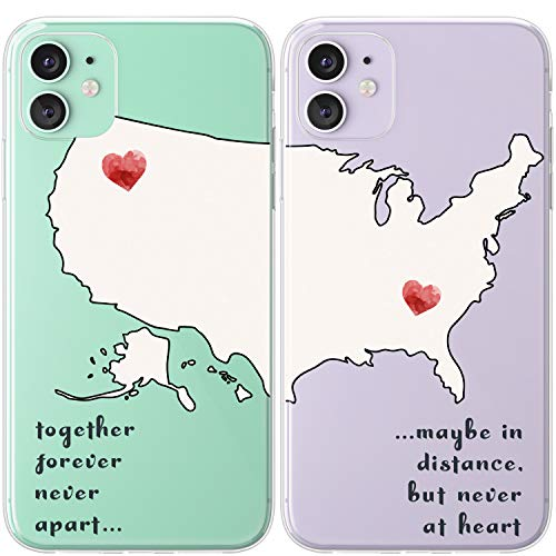 Mertak TPU Couple Cases Compatible with iPhone 12 Pro Max Mini 11 SE Xs Xr 8 Plus 7 6s Cute Slim Distance Silicone Matching Quote Map Love Boyfriend Best Friend Together Forever Flexible Relationship