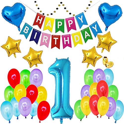SUNPAT 1er Cumpleaños Globos Decoracion,Cumpleaños del niño de 1 Año Bebe Niño y Niña Banner de Feliz cumpleaños(36Pcs)