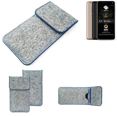 K-S-Trade Handy Schutz Hülle Für Allview A9 Plus Schutzhülle Handyhülle Filztasche Pouch Tasche Hülle Sleeve Filzhülle Hellgrau, Blauer Rand