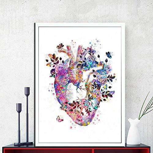 N/A Leinwandmalerei Menschliches Herz drucken Organ Anatomie Leinwand Malerei Medizin Anatomisches Poster Vintage Druck Aquarell Blumenbilder Klinik Dekor