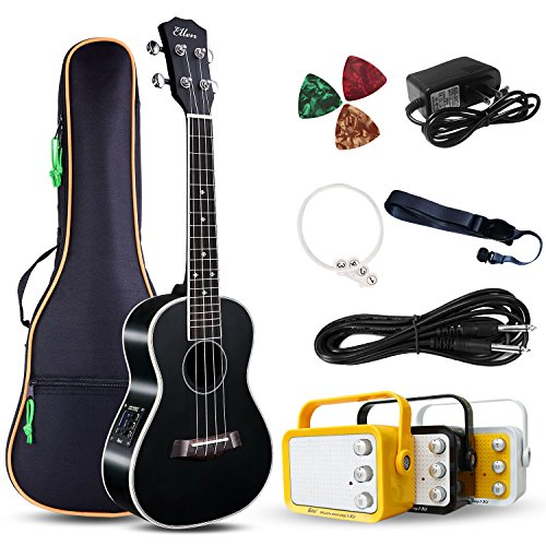 Electric Concert Ukulele With Amp | 23' Acoustic-Electric Ukulele Beginner Kit | This Electric Ukulele Kit Includes Everything Needed For A Beginner Ukulele Learner | Crafted From Spruce Mahogany