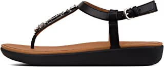 Women's Tia Bejewelled Leather Buckle Toe Post Sandal Black