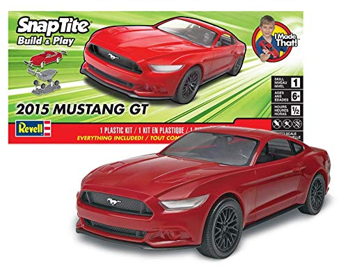 Image of Revell SNAPTITE Build + Play 2015 Mustang GT Model Kit, Red