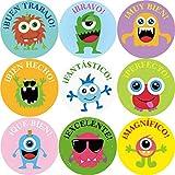 Pegatinas de recompensa para niños en español, diseño de monstruos, en rollo perfornado, 200 unidades