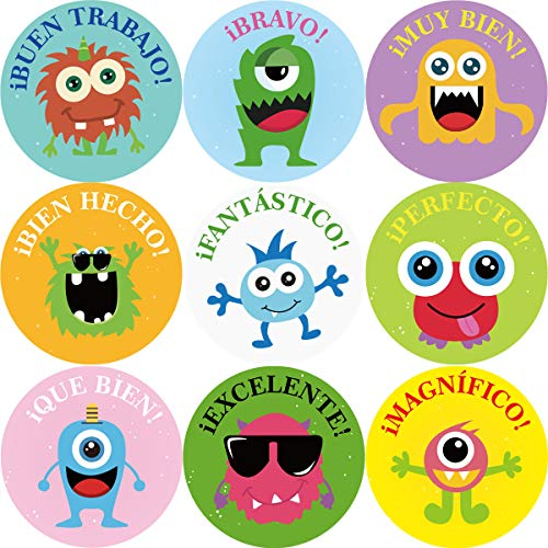 200 Funny Monster Sticker for Kids Spanish Reward Stickers Perforated Roll Teacher Motivational Incentive Sticker Halloween Party Supply