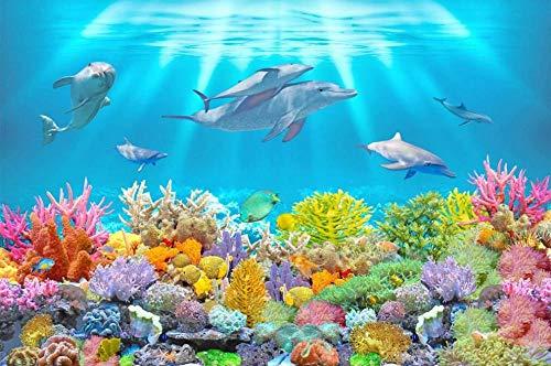 Papel Pintado 3D Mural Coral Delfín Mundo Submarino Papel Tapiz Pared 3D Fotomural Moderno Wallpaper Salón Dormitorio Decoración,350X245cm
