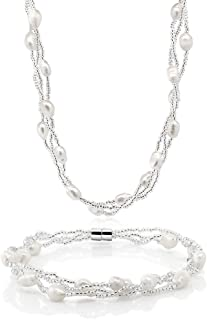 Gem Stone King Twisted White Cultured Freshwater Pearl 16 Inch Necklace and 7 Inch Bracelet with Magnetic Clasp