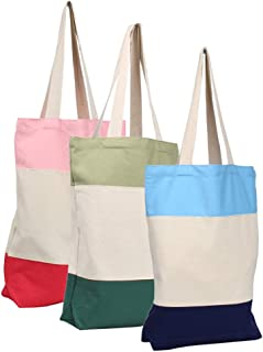 KisSealed 3 Pcs Cotton Canvas Washable Grocery Tote Bag Bulk Plain Fabric for DIY,Decorate, Shopping,Groceries,Teacher, Books,Gifts,Welcome Bag,Diaper Bag,Beach(Blue,Green,Pink)