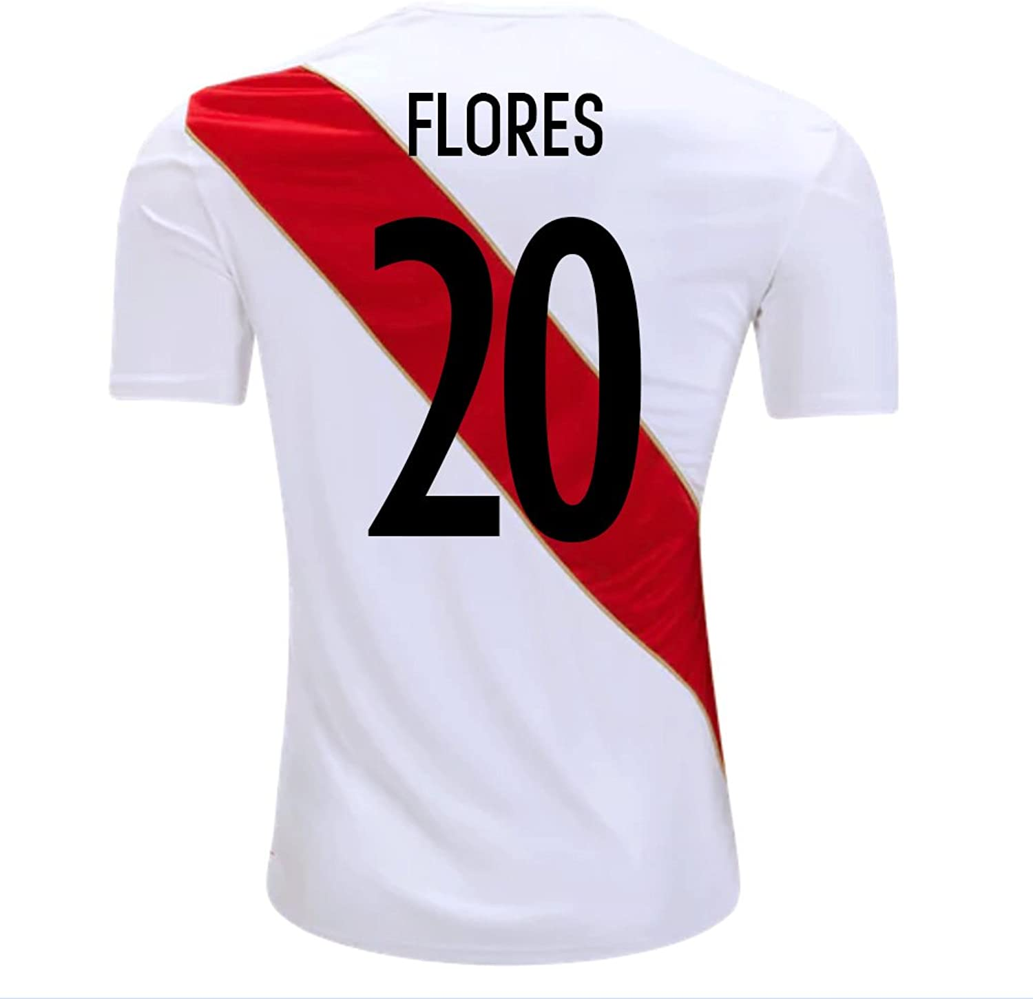 Umbro Flores  20 Peru Home Men's Soccer Jersey World Cup Russia 2018