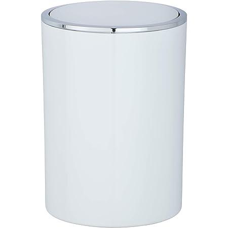 WENKO Poubelle à couvercle oscillant Inca - Poubelle avec couvercle basculant Capacité: 5 l, Ø18.5 x 25.5 cm, Blanc