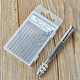 Juego de brocas de precisión Mini brocas de mano + 10 brocas helicoidales Brocas de brocas trenzadas micro Juego de 0,8 mm-3 mm