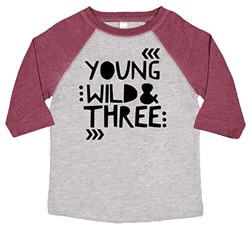 Young Wild and Three Girls 3rd Birthday Shirt for Toddler Girls Third Birthday Outfit 3/4 Sleeve Vintage Burgundy Raglan 4T