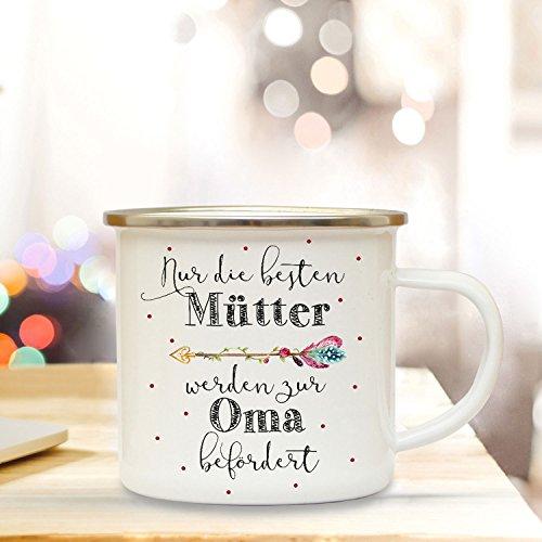 ilka parey wandtattoo-welt Emaille Becher Camping Tasse mit Punkte & Spruch die besten Mütter Werden zur Oma Kaffeetasse Kaffeebecher eb60