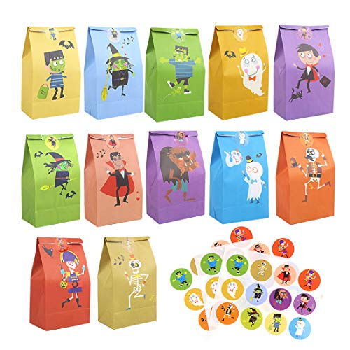 CCINEE 36pcs Halloween Paper Treat Bags Cute Candy Bags with 48pcs Round Stickers for Halloween Party Snacks Gift Packing Supplies