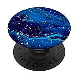 Blau Dunkelblau Hellblau Muster / Marine Gelb Art Design PopSockets PopGrip: Ausziehbarer Sockel und Griff für Handys/Tablets mit Tauschbarem Top
