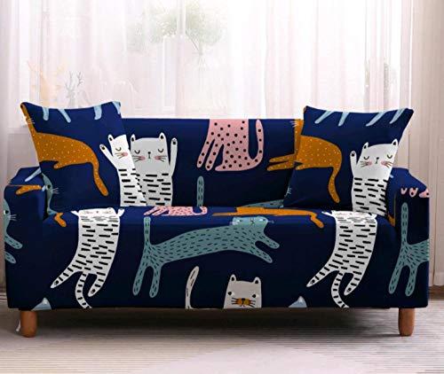 Funda de sofá de 3 Plazas Funda Elástica para Sofá Poliéster Suave Sofá Funda sofá Antideslizante Protector Cubierta de Muebles Elástica Gato Animal Colorido Funda de sofá