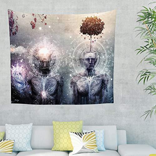 XHJQ88 Wandteppich Kameron, Grau, Raum, Nebel, Universum, spirituell, heilig, geometrisches Design, romantischer Druck, vielseitig verwendbar, für Wohnzimmer, weiß, 40x59inch